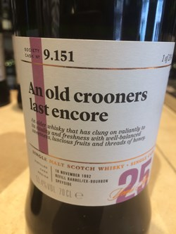 The Dramble reviews SMWS 9.151 An old crooners last encore