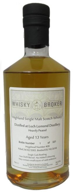 The Dramble reviews Whiskybroker Loch Lomond 13 year old Heavily Peated Whiskybroker
