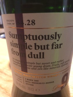 The Dramble reviews SMWS 84.28 Sumptuously simple but far from dull