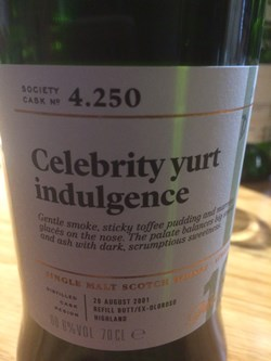 The Dramble reviews SMWS 4.250 Celebrity yurt indulgence