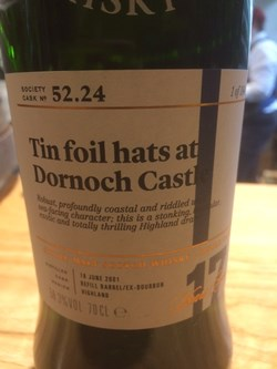 The Dramble reviews SMWS 52.24 Tin foil hats at Dornoch Castle