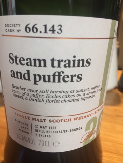 The Dramble reviews SMWS 66.143 Steam trains and puffers