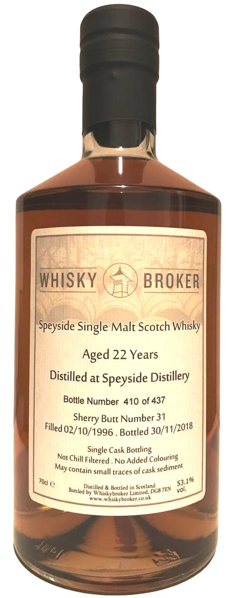 The Dramble reviews Speyside Distillery 1996 22 year old Whisky Broker