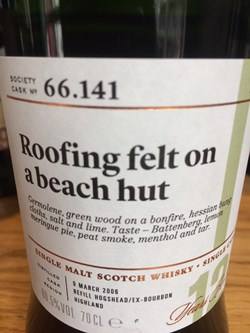 The Dramble reviews SMWS 66.141 Roofing felt on a beach hut