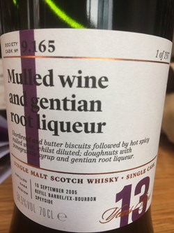 The Dramble reviews SMWS 9.165 Mulled wine and gentian root liqueur