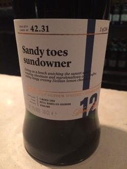 The Dramble's tasting notes for SMWS 42.31 Sandy Toes Sundowner