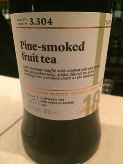 The Dramble's tasting notes for SMWS 3.304 Pine-Smoked Fruit Tea