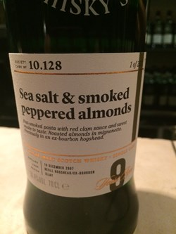 The Dramble's tasting notes for SMWS 10.128 Sea Salt & Smoked Peppered Almonds