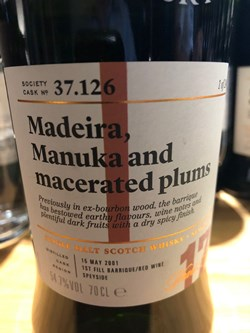 The Dramble reviews SMWS 37.126 Madeira, manuka and macerated plums