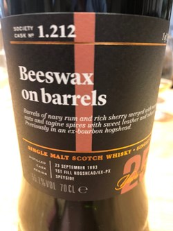 The Dramble reviews SMWS 1.212 Beeswax on barrels