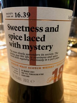 The Dramble reviews SMWS 16.39 Sweetness and spice laced with mystery