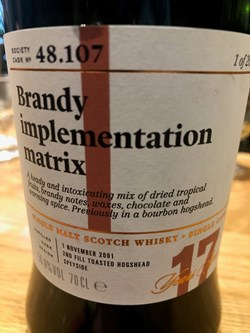 The Dramble reviews SMWS 48.107 Brandy implementation matrix
