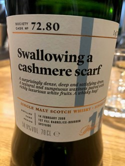 The Dramble reviews SMWS 72.80 Swallowing a cashmere scarf