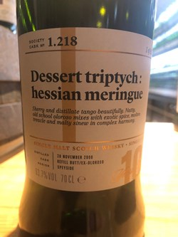 The Dramble reviews SMWS 1.218 Dessert triptych: hessian meringue