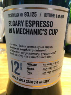 The Dramble reviews SMWS 93.125 Sugary espresso in a mechanic's cup
