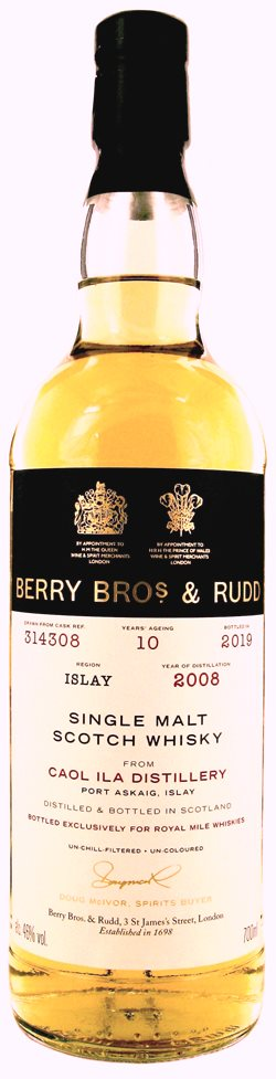 The Dramble reviews Berry Bros & Rudd Caol Ila 2008 10 year old Royal Mile Whiskies Exclusive
