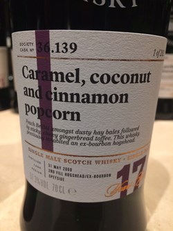 The Dramble's tasting notes for SMWS 36.139 Caramel, coconut and cinnamon popcorn