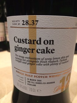 The Dramble's tasting notes for SMWS 28.37 Custard on ginger cake