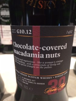 The Dramble's tasting notes for SMWS G10.12 Chocolate-covered macadamia nuts