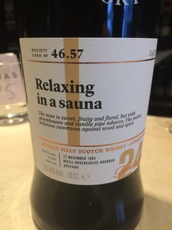 The Dramble's tasting notes for SMWS 46.57 Relaxing in a sauna