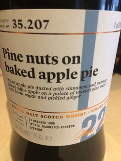 The Dramble's tasting notes for SMWS 35.207 Pine nuts on baked apple pie