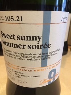 The Dramble's tasting notes for SMWS 105.21 Sweet sunny summer soiree