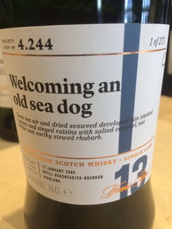 The Dramble's review of SMWS 4.244 Welcoming an old sea dog