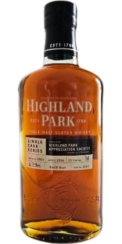 The Dramble's tasting notes for Highland Park Appreciation Society Single Cask 2003